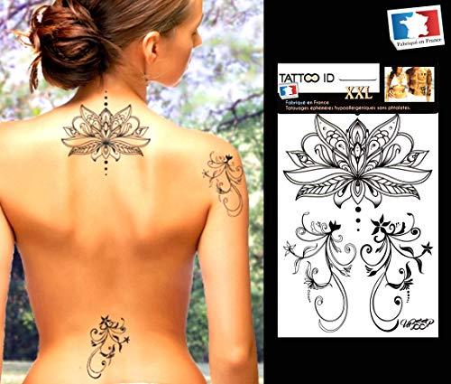 Tatouage ephemere temporaire femme LOTUS Fleur TATTOO ID XXL hypoallergénique Fabriqué en FRANCE 1 planche 22cm x 14,5cm Homme Femme
