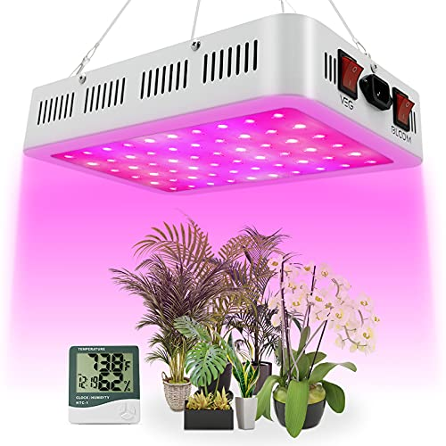 LED Grow Light, 600W Grow Lamp for Indoor Plants Full Spectrum Plant Growing Light Fixtures with Daisy Chain Temperature Hygrometer
