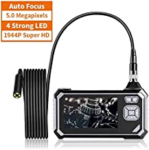 Industrial Endoscope,ROTEK 5M 1080P HD Auto Focus 4.3inch LCD Screen 2600mAh Battery Professional Borescope,IP67 Waterproof Inspection Camera with Digital Video Recording Handheld Endoscope(16.4ft)