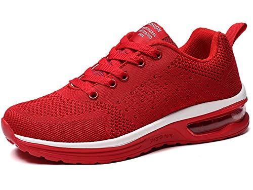 GAXmi Damen Luftkissen Laufschuhe Mesh Atmungsaktiv Running Fitness Turnschuhe rutschfest Stoßfest Outdoors Sportschuhe Rot 40 EU (Etikette 42)