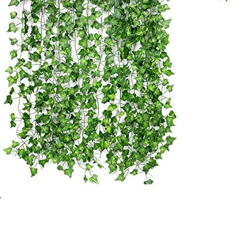 ASANMU Efeu Künstlich, Künstlicher Efeugirlande 2.1m-12 Stück Efeu Hängend Girlande Kunstpflanze Kunst Deko Grün für Büro Kommunion Garten Balkon Hochzeit Romantische Außen Wanddekoration Festival
