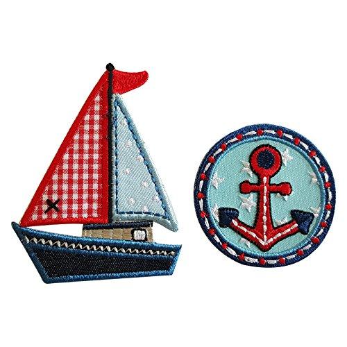8X6Cm Yate03 Lindo velero con una combinación de colores vibrante en variadas presentaciones y materiales Un sello circular muy colorido de estilo marinero con un Ancla roja central perfecto para pers