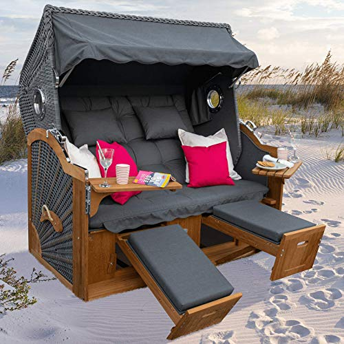 Luxus Strandkorb mit Bullaugen Modell Daytona Irokoholz