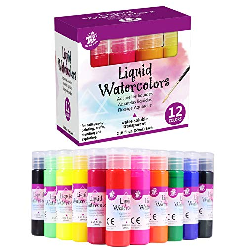 TBC The Best Crafts Liquid Watercolor,12 Colors( 2oz./59ml Each Bottle ), Water based Paint for Kids and Adult,Perfect for Calligraphy,Painting,Crafts