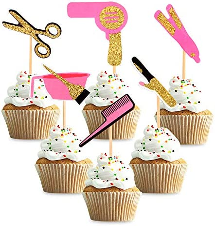 Ercadio 36 Pack Barbershop Themed Cupcake Toppers Gold Glitter Haircut Bachelorette Cupcake product image