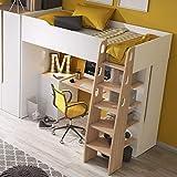MHF Bubu 1 litera escritorio escalera almacenamiento 90x200cm colchón habitación niños moderno