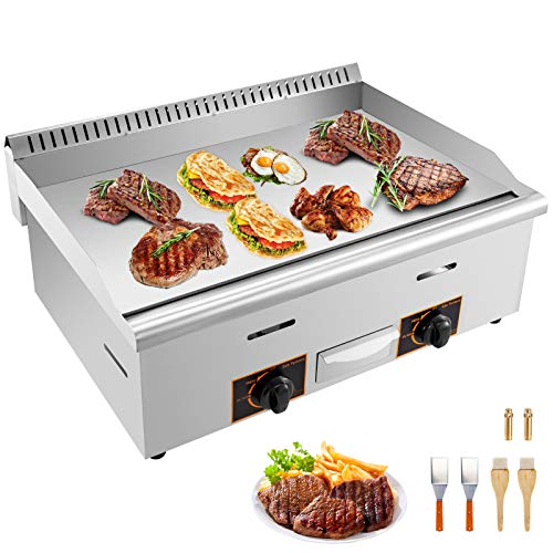 """VBENLEM 30"""" Commercial Griddle Grill Non-Stick Gas Countertop Griddle Grill Supports LPG & LNG Stainless Steel Flat Top Grill 2-Burner 90,000 BTU Perfect for Outdoor Camping or Restaurant Electric Griddles"""