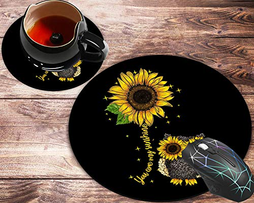 Round Mouse Pad and Coasters Set, Sunflower and Owl Mousepad, Non-Slip Rubber Round Mouse Pad, Customized Mouse Mat for Working and Gaming