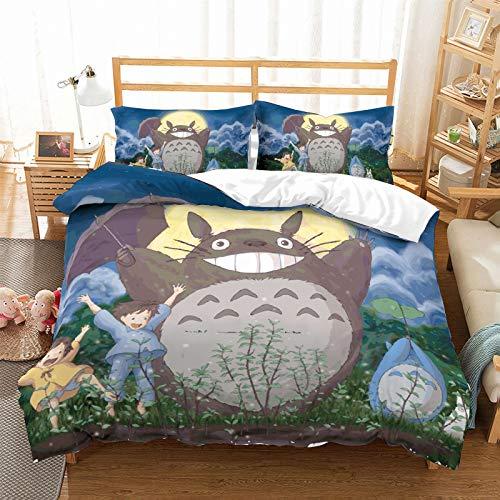 NYLIN Fundas Nórdicas Totoro Juego De Ropa De Cama Lindo Animal Mascota Anime Colcha 2/3/4PCS Fundas De Edredón Nórdico/Almohada/Sábanas,para Cama 90/135/150/180 (140×210cm-Cama 80/90-3PCS,04)