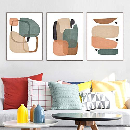 NFXOC Carteles e Impresiones de Arte trío geométrico Abstracto Naranja Moderno Verde Cuadros de Pintura de Arte de Pared Minimalista para decoración del hogar (50x70cm) 3 Piezas sin Marco