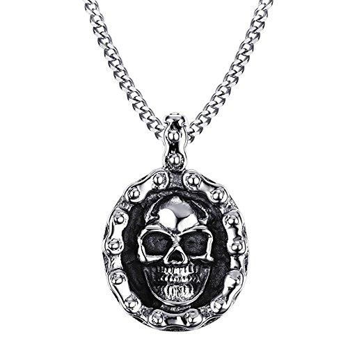 BOBIJOO Jewelry - Pendentif Chaîne de Moto Tête de Mort Biker Homme Collier Acier Inoxydable Skull
