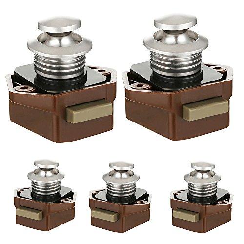 20 mm Druckknopf für Schrank, Schnappverschluss, ohne Schlüssel, 5 Stück, Schranktür Schrankschloss Verschluss für Wohnwagen Schublade Wohnmobil