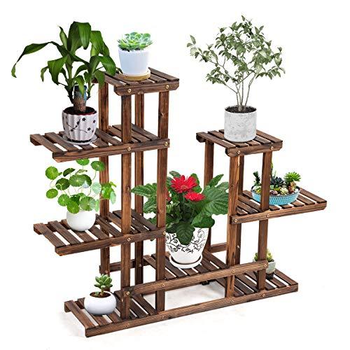 DREAMADE Pflanzenregal Holz, Blumenregal mit Mehreren Ebenen, Blumenständer Standregal Treppenregal...