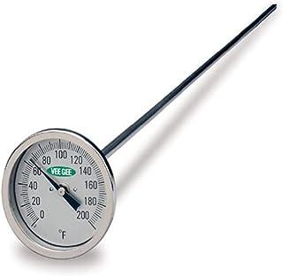 """دماسنج کمپوست VeeGee Dial ، با صورت شیشه ای ، شماره گیری 12 """"ساقه ، 3"""" ، -40 تا 160 درجه فارنهایت"""