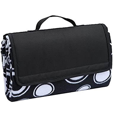 APOLLO WALKER Large Picnic Blanket Tote with Waterproof Backing for Outdoor, Picnic, Beach, Camping, Black