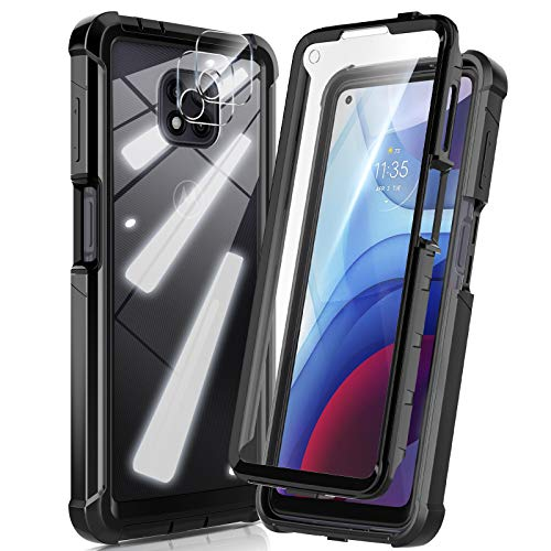 HATOSHI Motorola Moto G Power 2021 Case with Built in Screen Protector [NOT for Moto G Power 2020], with 2 Pack Camera Lens Protector, 5X Military-Grade Shockproof Phone Case, Clear