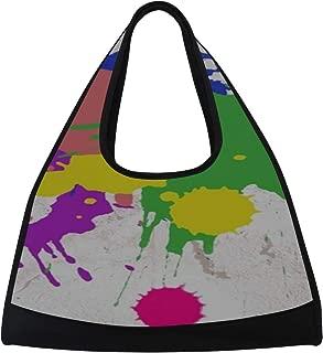 JGYJF Splatter Paint Abstract Art Paint Splatter Custom Tennis Racquet Bag Fitness Bag Womens Sports Tote Bags with Pockets Equipment Duffle Bag Racquet Shoulder Bag for Sport Travel Shopping