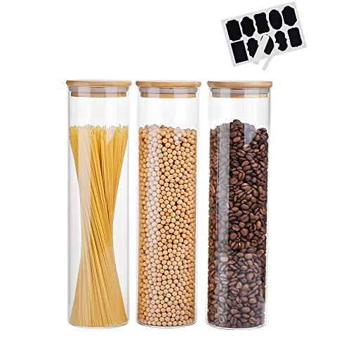 Amisglass Vorratsdosen Glas mit Bambusdeckel und Etiketten, 1400ML Vorratsgläser mit Deckel, Glasbehälter Ideal für Spaghetti, Zucker, Getreide - 3er Set für die Aufbewahrung von Lebensmitteln