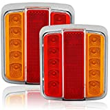AGRISHOP Luces Traseras para Remolque LED 12V Universal Piloto Trasero Iluminación del Remolque Lámpara De Freno Cola Indicador con Reflector Tail Remolque Luz Resistente al AguaPara Camion E-mark