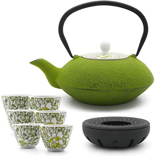 Bredemeijer Teekanne asiatisch Gusseisen Set grün 1,2 Liter mit Tee-Filter-Sieb und gusseisernen Stövchen inkl. 6 grünen Teebecher Porzellan