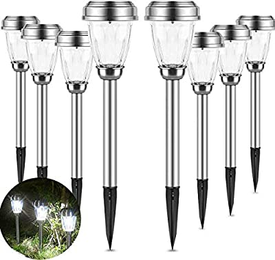 INSOME Solar Path Lights 8 Pack Stainless Steel Solar Pathway Lights Waterproof Auto On/Off Wireless LED Landscape Lights for Lawn Patio Fence Yard Garden Walkway Driveway