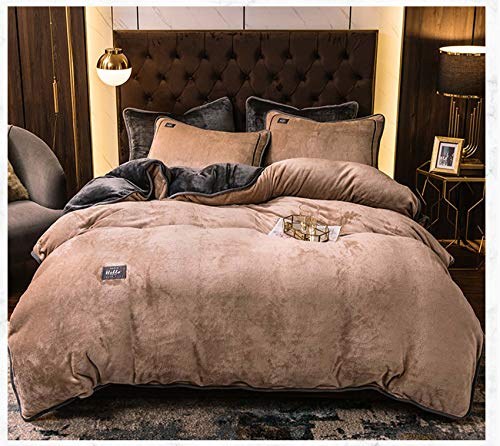 Franela Juego De Ropa De Cama,4 Piezas,Ultra Soft Funda Nordica Y Sábana con Pillow Shams,Respirable Calentar Acogedor Funda Nordica-Marrón 200x230cm(78.7x90.6inch)