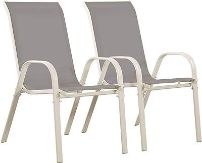 Pack 2 sillas para jardín apilables, Tamaño: 45x55x87 cm ...