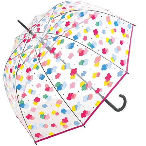 Benetton Automatik Regenschirm Glockenschirm transparent durchsichtig Bunte Wolken