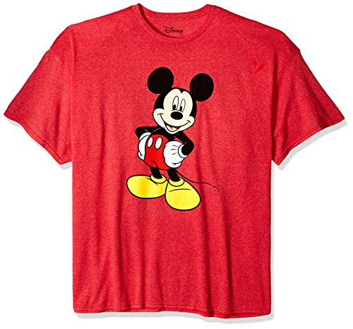 Disney Mickey Mouse Men's Mickey Mouse Funny Graphic Classic Disneyland T-Shirt, red Heather, 2XL