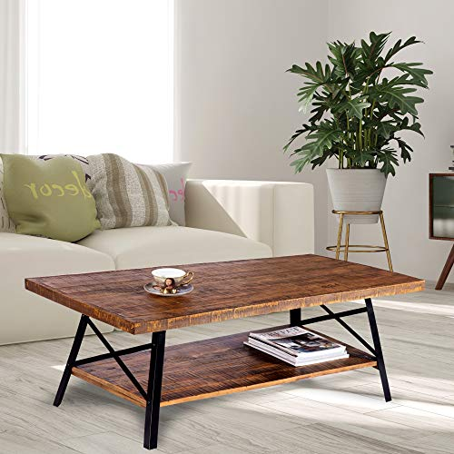 Olee Sleep 46' Cocktail Wood & Metal Legs Coffee Table, Rustic Brown