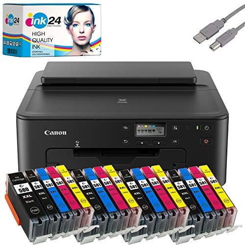 Canon PIXMA TS705 Tintenstrahldrucker Fotodrucker + USB Kabel & 20 kompatible Druckerpatronen der Marke ink24 (Drucken per USB oder WLAN) - Originalpatronen ausdrücklich Nicht im Lieferumfang!
