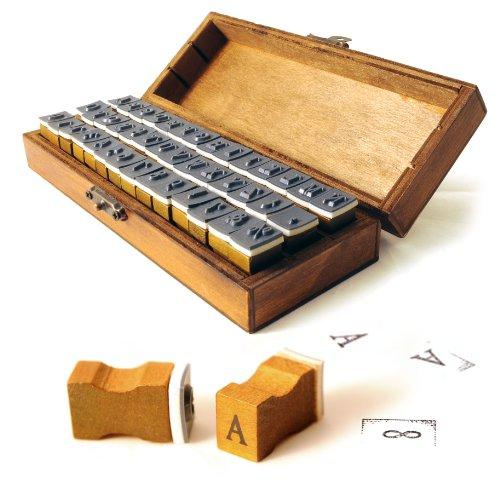 42-delig. Hout/rubber stempel set & rustieke houten doos met metalen sluiting, letterstempel/alfabetset - merk Ganzoo