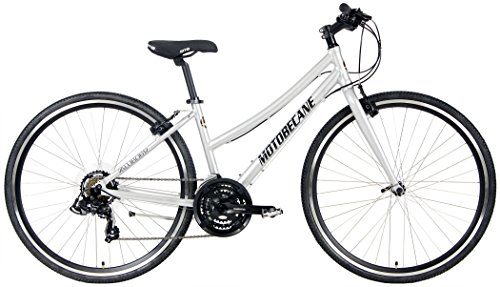 Motobecane 2018 Cafe 21 Speed Shimano Equipped Hybrid Aluminum Bicycle (Silver, 17.5' Mens Frame Fits Most 5'6' to 5'8')