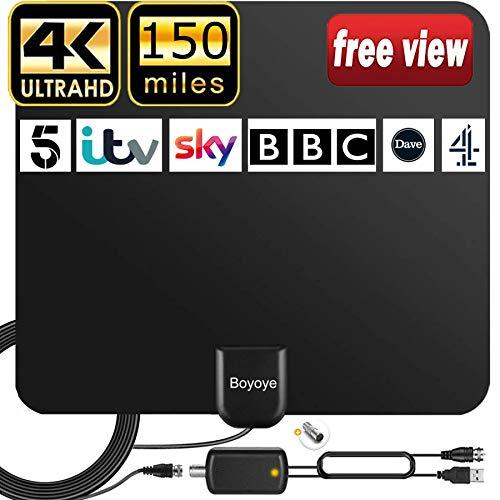 Antenna TV Interna, Boyoye Antenna TV Digitale150 Miglia Gamma con Amplificatore Segnale per 4K 1080p VHF UHF DVB-T DVB-T 2 Canali Gratuiti, Cavo Coassiale 5M2021 Nuova