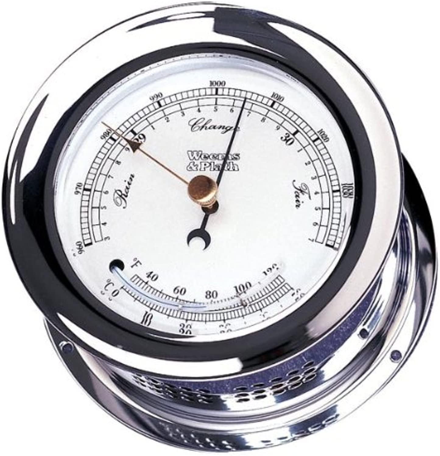 Weems & Plath Atlantis Collection Barometer and Thermometer Combination (Chrome)