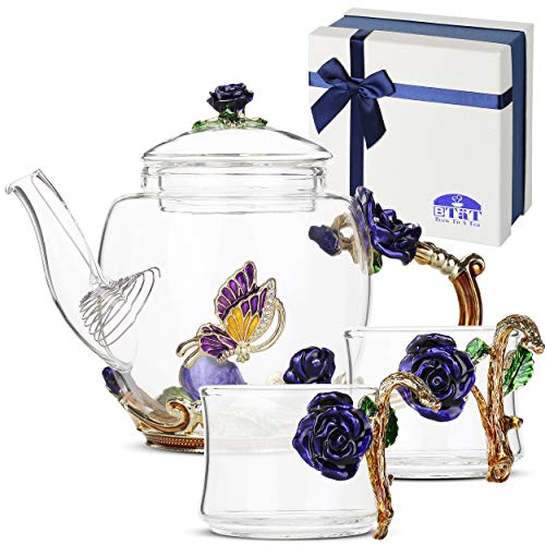 BTaT- Small Glass Tea Set, 2 Fancy Cups, Tea Pot Glass, Tea Kettle Set, Tea Pot, Glass Teapot, Tea Set for Adults, Glass Tea Kettle, Glass Tea Cup, Pretty Tea Cup, Teapot, Fancy Tea Cup, Fancy Tea Set