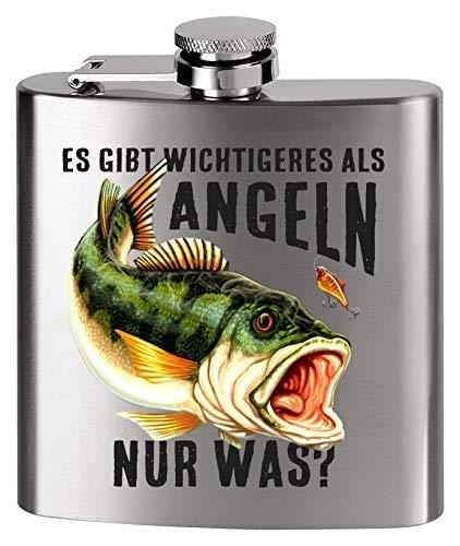 MCK Austria Design Flachmann Metall - Bedruckt anstelle Gravur - für den Angler Fischer - Es gibt wichtigeres als Angeln NUR was ?