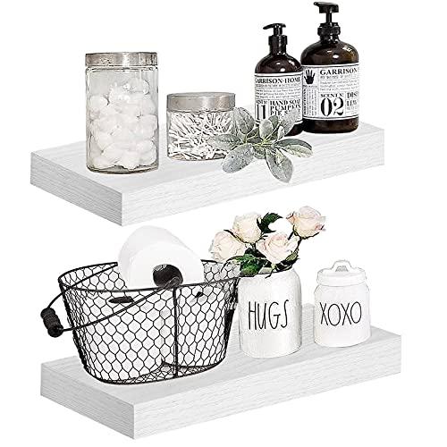 "QEEIG White Floating Shelves for Bathroom Wide Wall Shelf Bedroom Kitchen Living Room Mounted Shelving Set of 2 Small Modern Shelfs 15.7"" L x 6.7"" D (008-40W)"