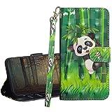 GrandoinChoice Funda para Nokia 5.1 Plus/Nokia X5, Superficie Colorida 3D PU Cuero Case Cuerpo Completo Carcasa Protectora Cartera Soporte Plegable Función Fundas Case Cover(Panda De Bambú)