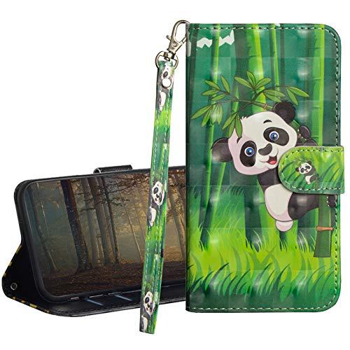 GrandoinChoice Kompatibel mit Xiaomi Pocophone F1 Hülle,3D Gemalt Muster PU Leder Etui Flip Cover Book Case Schutzhülle Handytasche Handyhülle + Soft Silikon TPU Innere Schale Etui(Panda Bambus)