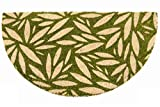 Felpudo de coco natural Joker Mezzaluna con fondo de goma de PVC con diseño de hojas grises para la entrada, resistente, lavable, antideslizante (40 x 75 cm, verde)