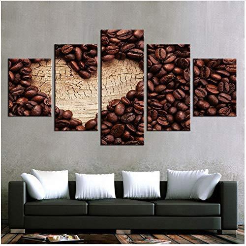 FCXBQ 3D leinwand malerei Leinwand Gemälde Wandkunst Rahmen Moderne Wohnzimmer Dekor 5 Stücke Liebe Kaffee Poster Hd Drucke Kaffeebohne Bilder