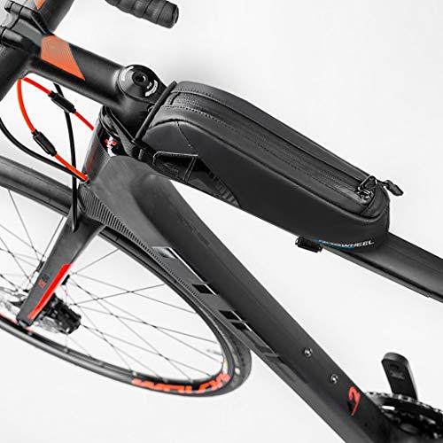 Bike Top Tube Bolsas De Manillar A Prueba De Agua Bolsa De Cuadro De Bicicleta, Bolsa De Bicicleta, Almacenamiento Móvil con Cremallera Impermeable Ciclismo teléfonos Bolsas (Color : Negro)