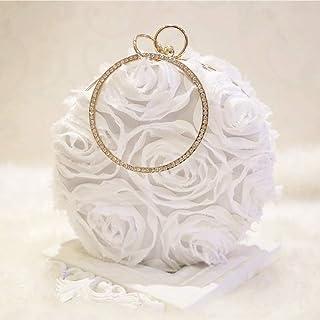 Women's Fashion Satin Clutch, Evening Bag, Chain Messenger Bag, Suitable for Parties, Weddings, Banquets, Cocktail Parties (Color : White)