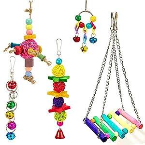 Womdee Bird Swing Jouets avec Bell, 5pcs Cage Hamac Swing Jouet pour Perroquet Aras cacatoès Afrique Gris Amazon Perruche Perruche calopsitte élégante Amour Bird Finch