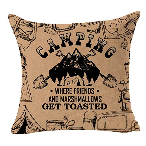 FELENIW Camping Where Friends and Marshmallows Get Toasted Tent Shovel Best Gift for Camping Travel RV Throw Pillow Cover Cushion Case Cotton Linen Decorative 18 Square