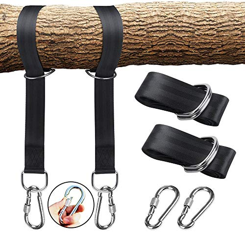 Easy Use Tree Swing Hanging Straps Kit, Hammock Straps X2- Holds 2000 lbs,-Strong Screw Lock Carabiner Hooks X2 -Perfect for Tree Swing & Hammocks, Carry Pouch Included