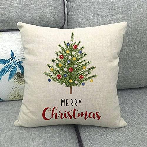 Serie navideña de Lino Simple Especial para la personalización de la Funda de Almohada del cojín de la Almohada del sofá Explosivo 795-11_45 * 45cm