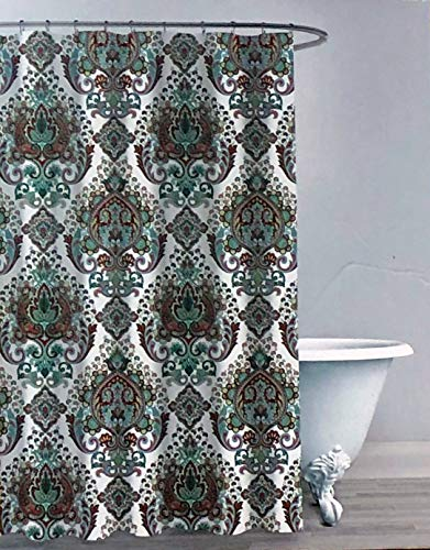 Envogue Designer Shower Curtain Classical Vintage Intricate Medallion Pattern in Shades of Red Blue Green Yellow on White on White 100% Cotton Luxury