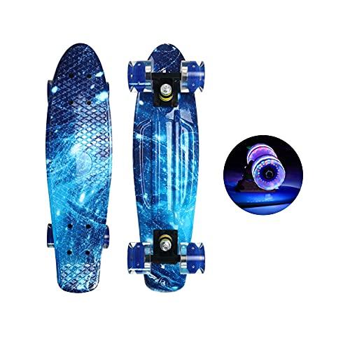 Skateboard für Kinder Erwachsene, 22 Zoll kompletter Skateboard Cruiser mit Buntem LED-Lichtrad, Mini Cruiser Skateboard Retro Komplettboard, Skateboard, für Jugendliche Kinder und Erwachsene